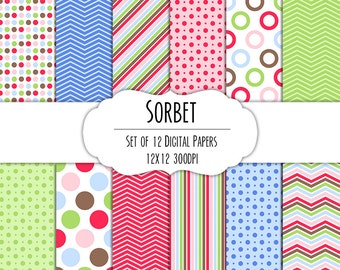 Sorbet Digital Scrapbook Paper 12x12 Pack - Set of 12 - Polka Dots, Chevron, Stripes - Instant Download - Item# 8049