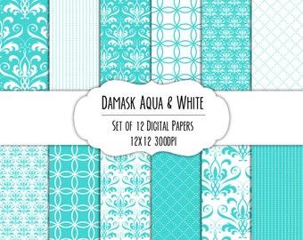Damask Aqua & White Digital Scrapbook Paper 12x12 Pack - Set of 12 - Damask, Diamond, Dotted Stripes - Instant Download -#8124