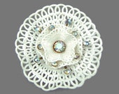 All the Frills - Vintage 1950s Rhinestone Brooch, Ruffle Doily, Large Showy Piece, Beautiful AB Stones, White Lacy Plastic