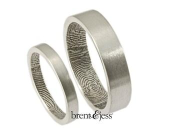 The Original FingerprintRing Set with Wrapped Prints on the Inside - Sterling Silver Fingerprint wedding bands