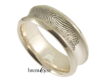 Custom 8mm Concave Fingerprint Ring