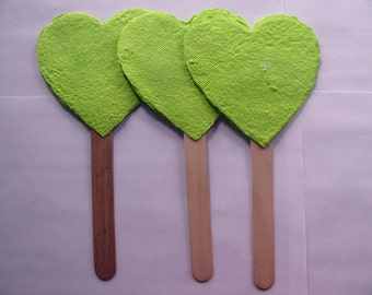 Plantable Paper Wedding Favor Fans in Lime Green Hearts