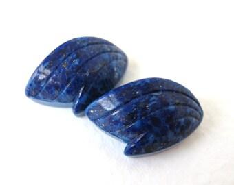 Vintage Glass Cabochon Faux Lapis Lazuli Blue Leaves Wings 18x10mm gcb0837 (2)