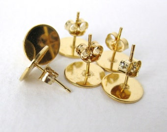 Vintage Brass Earring Post Ear Stud Earwires Gold Plated Blank Finding erw0114 (12 pc, 6 pair)
