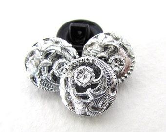 Vintage Czech Button Flower Silver Black Glass Shank 13mm but0206 (4)