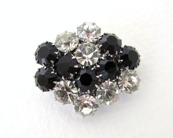 Vintage Rhinestone Buttons Crystal Clear Black Silver Metal Shank Czech 30mm but0234 (1)