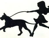 Great Dane and Pin Up Silhouette, Black Vinyl Decal