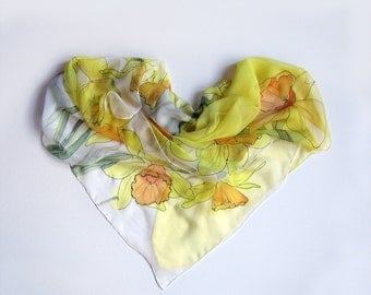 Yellow daffodils Silk chiffon scarf hand painted Spring floral scarf Bright summer scarf Large Yellow Scarf Silk painting Mothers Day gift