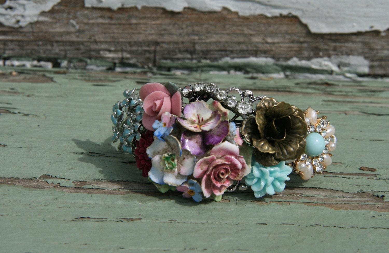 Flower Bracelet, pastel Floral Cuff Bracelet, Vintage Inspired ...