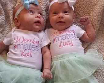 Twins shirts, Two shirts, womb mates, twin girls, embroidered shirt, personalized  twins