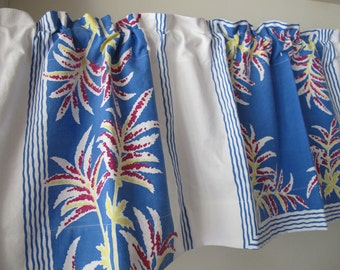 CLEARANCE Blue Tropical Print Valance, Blue Yellow Red Curtain, Vintage Cotton Fabric Kitchen Curtain