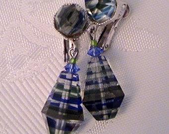 Vintage VENDOME Green Blue Black Striped Crystal Earrings