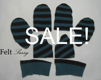SALE - Wool Sweater Mitten Kit - Children Size DIY - Fully Lined #109