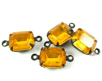 4 - Vintage Glass Octagon Stones 1 or 2 Rings Antique Brass Prong Settings  - Topaz - 10x8mm