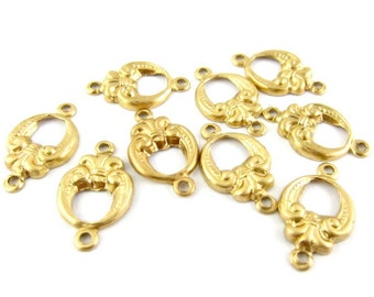 8 - Raw Brass Baroque Style Connectors - 9x15mm