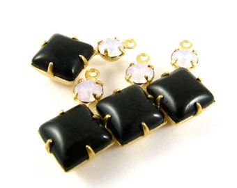 2 - Vintage Glass Square and Round Stones in 1 Ring 2 Stones Brass Prong Settings - Jet Black & Rose Water Opal - 18x11mm