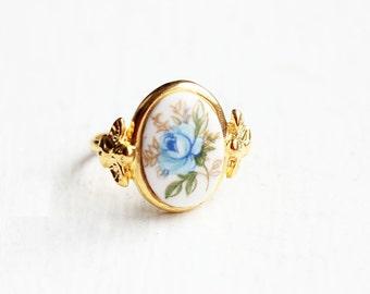 Blue Rose Ring, Rose Ring, Blue Ring, Cabochon Ring, Gold Flower Ring, Gold Ring, Adjustable Ring, Vintage Flower Ring, Flower Ring
