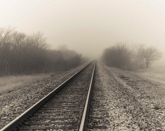 Ghostly Rails Fine Art Photography Foggy Landscape Train tracks lonely misty moody home decor Large Art Neutral color beige dreamy wall art