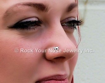Cat Nose Stud Kitten Nose Ring El Gato Nose Stud in Sterling Silver CUSTOMIZE