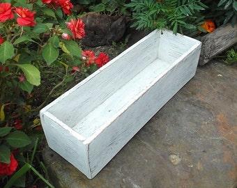 Cottage Chic Wedding Centerpiece - Chippy White Box - Distressed Wood Box - Shabby Chic Wedding