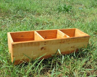 Office or Craft Organizer Box - 3 Compartments - Country Home Decor - Reclaimed Wood