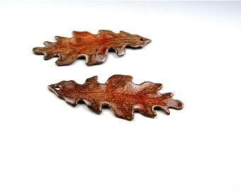 Enameled Medium Oak Leaf  / Autumn Enamel/ Made to order
