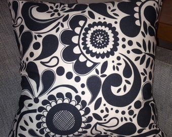 "Swirl dark gray / white cushion pillow cover, 18"", 45cm , cotton,  Finland"