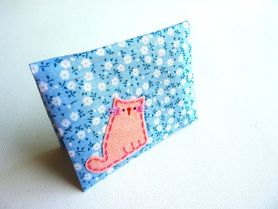 Fabric Card Case Cat ID Card Case Business Card Case Handmade Card Case Card Cover - Gift For Girl