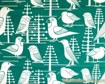Birds Collection, White Nature Seagull Bird Birds Geometry Geometric Polka Dots Tree Collection-Cotton Fabric (1/2 Yard)