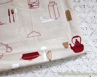 Lovely Dark Red Simple Kitchen Kitchenware Cooking Zakka Teapot Collection-Linen Cotton Blended Fabric (Fat Quarter)