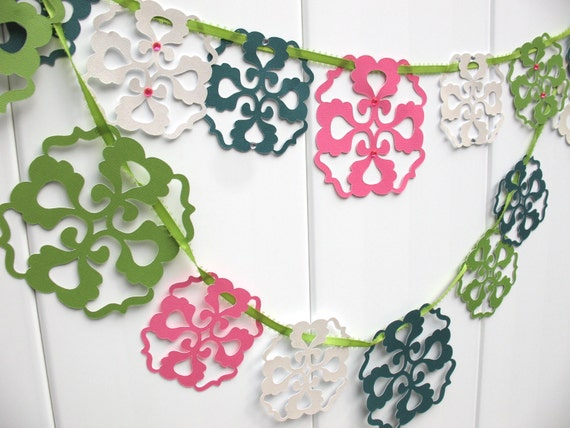 Garland green pink white by iecreations catch my party