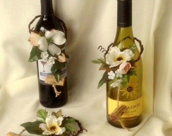 Bridal Shower Centerpieces wine Bottle toppers Favors Set of 6 table decor accessories Ivory Rustic woodland AmoreBride reception ideas