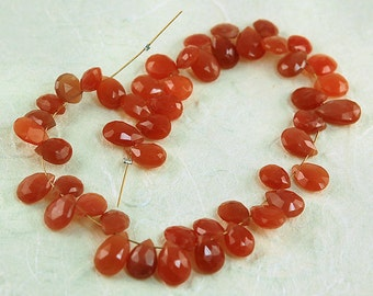 82.9ct Top Quality Peach Moonstone Briolettes - 48 - Pieces Moonstone Beads