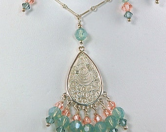 Swarovski Crystal, Sterling Silver Necklace - 16 Inch Chain
