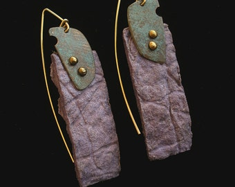 Purple Hand Cast Paper Earrings with Copper Patina Accents