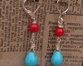 Free USA Shipping Red Coral and Turquoise Teardrop Dangle Silver Lever Earring Women Teen Girls