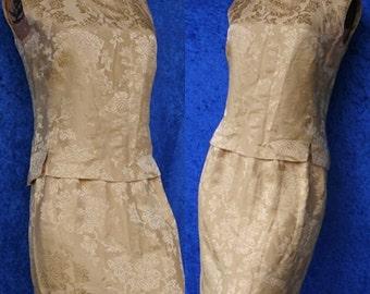 Vintage 60s 1960s Dynasty Jacquard Asian Oriental Silk Suit Dress Mad Men Easter Wiggle Skirt Spring
