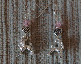 Dog Charm Earrings- Pewter Poodle Dog with Rose Crystal Bead