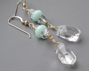 Rock Crystal Pastel Mint Gold Earrings
