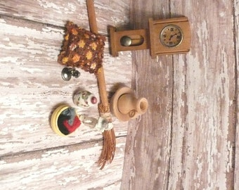 Set of 9 Miniature Dollhouse accessories Clock Bowl Pitcher Knitting Statue Phone Pillow Broom Ginger Jar