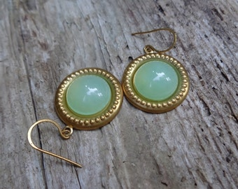 Vintage Green Lucite Cabby And Brass Earrings