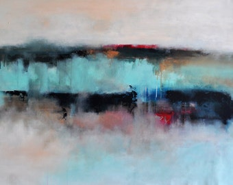 Large Original Abstract Painting Aqua Bronze Beige Modern Landscape UNSTRETCHED Rolled in a tube 28x45""