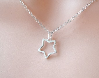 Sterling Silver Star Necklace, Dainty Jewelry, Minimal, Modern, SImple