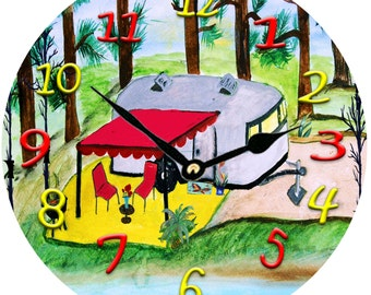 Air stream camper on the lake Wall Clock available in 2 sizes