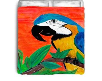 Parrot head tropical bird bedding from my art