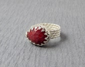 SALE Sterling Silver Ruby Teardrop Ring Size 8