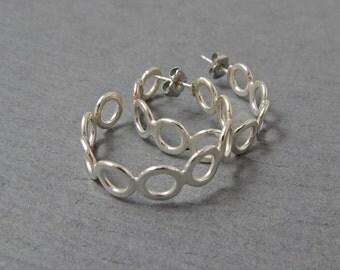 Loop d' Loop Sterling Silver Post Hoop Earrings