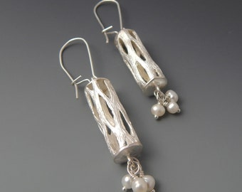Willow - Lacy Sterling Silver and Pearl Dangle Earrings