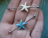 Industrial Barbell 16g Earring, 16 Gauge Turquoise Starfish Industrial Barbell Piercing Ear Bar Earring White Blue Industrial Barbell