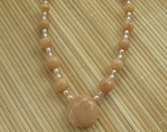 Faux Himalayan Salt Statement Necklace - Women's Handmade Beaded Jewelry by Roz Petalz Studio
